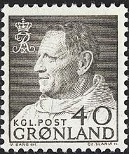 Grønland - Kong Frederik IX i anorak - 40 øre - Grå