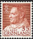 Grønland - Kong Frederik IX i anorak - 35 øre - Rød