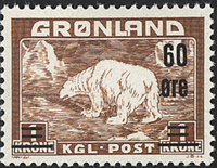 Greenland - Polar Bear - 60 øre / 1 kr. - Yellowish brown (7)