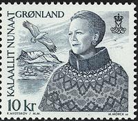 Greenland - 2000-2002. Queen Margrethe II - 10 kr - Green / Bluish green