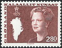 Greenland - Queen Margrethe II - New Definitive Issue - 2,80 kr - Brown/red