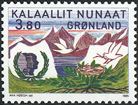 Grønland - 1985. Internationalt ungdomsår - 3,80 kr. - Flerfarvet
