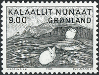 Greenland - 1985. Painting by Gerhard Kleist - 9,00 kr - Black