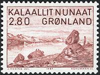 Grønland - Landskabsbillede fra Ammassalikfjorden - 2,80 kr. - Rødbrun