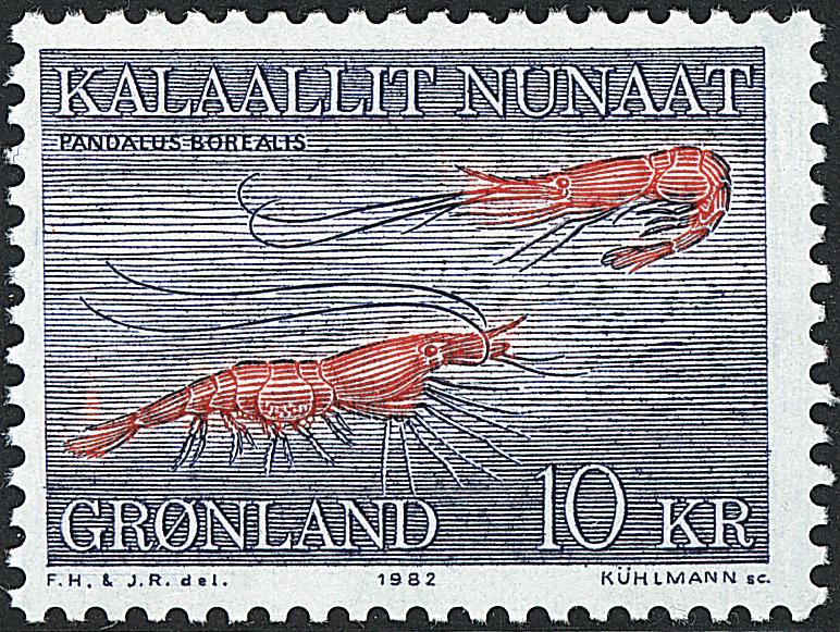 Grønland - 1982. Rejer - 10 kr. - Blå / Rød
