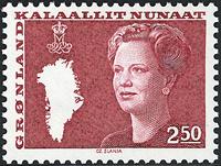 Grønland - Dronning Margrethe II. Ny brugsudgave -  2,50 kr. - Rød