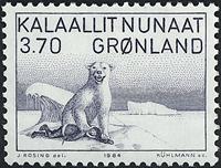 Grønland - 1984 maleri af Karale Andersen - 3,70 kr. - Gråblå