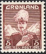 Greenland - King Christian X - Wine red - Type I -  5 øre