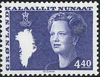 Greenland - Queen Margrethe II - New Definitive Issue - 4,40 kr. - Blue
