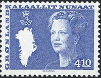 Greenland - Queen Margrethe II - New Definitive Issue - 4,10 kr. - Blue