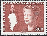 Grønland - Dronning Margrethe II. Ny brugsudgave -  3,00 kr. - Rød