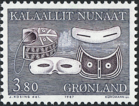 Greenland - 1987 Ethnographical Designs Part II - 3,80 kr - Blue/Dark brown