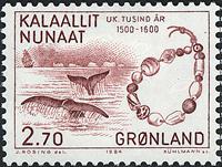 Grønland - 1000-års serien IV. År 1500-1800 - 2,70  kr. - Vinrød