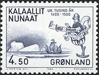 Grønland - 1000-års serien III. År 1200-1500 - 4,50 kr. - Blå