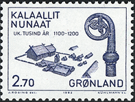 Grønland - 1000-års serien II. År 1000-1200 - 2,70  kr. - Blå