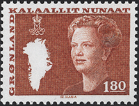 Greenland - Queen Margrethe II - New Definitive Issue - 1,80 kr. - Red