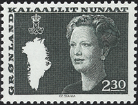 Greenland - Queen Margrethe II - New Definitive Issue - 2,30 kr- Dark green