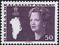 Greenland - Queen Margrethe II - New Definitive Issue - 50 øre - Violet