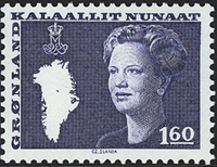 Greenland - Queen Margrethe II - New Definitive Issue - 1,60 kr. - Blue
