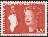 Greenland - Queen Margrethe II - New Definitive Issue - 1,30 kr. - Red