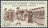 Grønland - 1978. Godthåbs 250 års byjubilæum - 2,50 kr. - Rødbrun