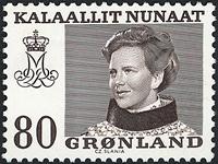 Grønland - Dronning Magrethe II - 80 øre - Brun