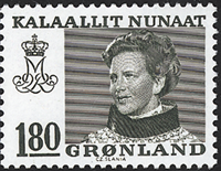 Grønland - Dronning Magrethe II - 180 øre - Grøn