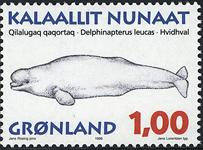 Grønland - 1996. Grønlandske hvaler - 1,00 kr. - Matrød / Flerfarvet