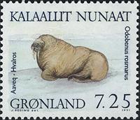 Grønland - 1991. Grønlandske Sæler - 7,25 kr. - Flerfarvet