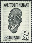 Greenland - 1977. Eskimo Mask - 9 kr. - Greenish black