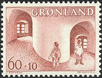 Grønland - 1968. Børnesagen i Grønland - 60 + 10 øre - Brunrød
