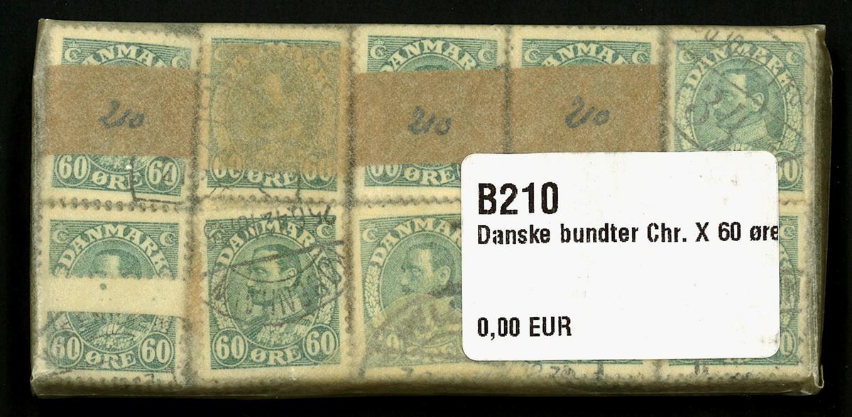 Danmark - bundter - Chr. X 60 øre blågrøn - 10 stk.