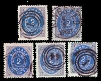 Danmark 1871 - AFA nr. 16 - 2 skilling - 5 stk.