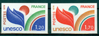 France - YT 56-57 UNESCO Type from 1976 - imperforated