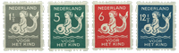 Vierzijdige roltanding Kind 1929 (nr. R82-R85, ongebruikt)