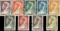 Curacao - Koningin Wilhelmina met sluier 1936 (nr.  126-134, ongebruikt)