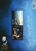 Belgium - Saxophone - Mint souvenir sheet