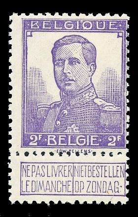 Belgien 1912 - OBP 117 - Ubrugt
