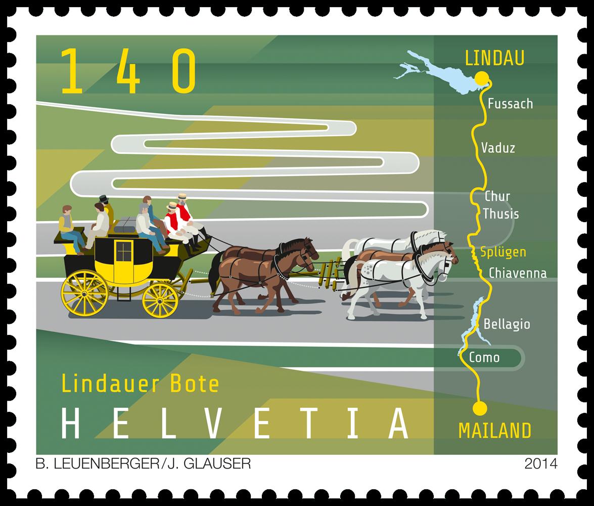 Schweiz - Lindau fodpost - Postfrisk frimærke