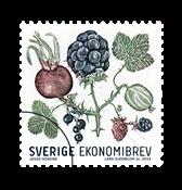Sverige - Efterårets bær - Flot enkeltmærke b-brev