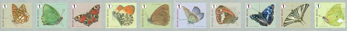 Belgien - Sommerfugle - Postfrisk sæt 10v