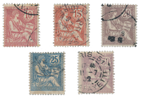 France 1902 - YT 124-28 - Cancelled