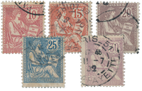 France 1902 - YT 124/128 - Unused