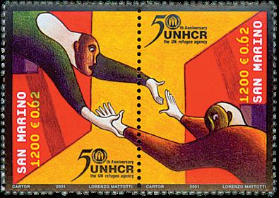 San Marino - FNs flygtningeagentur - Postfrisk sæt 2v