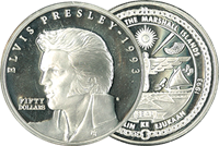 ELVIS PRESLEY 50$-hopeakolikko vuodelta 1993