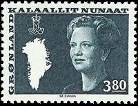 Greenland - Queen Margrethe II - New Definitive Issue - 3,80 kr. - Blue