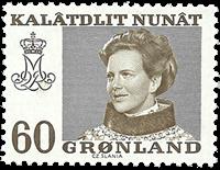 Grønland - Dronning Magrethe II - 60 øre - Brun (gult fluoresc. papir)