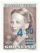 Greenland - Queen Margrethe II - 4,50/1,00 kr - Brown / Blue with overprint