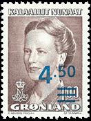 Dronning Margrethe II med overtryk i blåt - 4,50/1,00 kr. Brun/Blå
