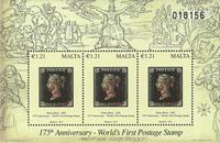 Malta - 175 years first stamp - Mint souvenir sheet